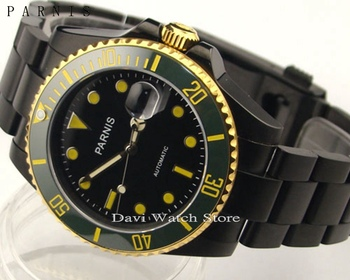 Parnis 40mm yellow gold pvd case Ceramic Bezel sapphire glass automatic mens watch