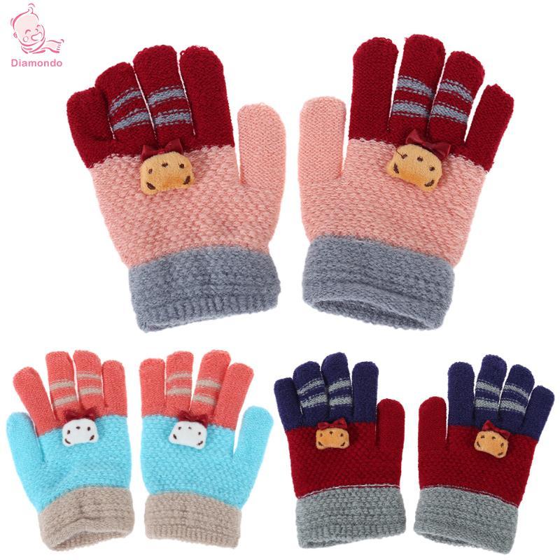 Winter Elastic Warm Girls Full Finger Gloves Fashion Children Knitted Stretch Mittens Cute Cartoon Baby Kids Boy Ski Gloves 2017 все цены