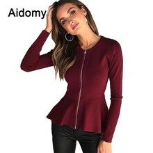 Front Zipper Peplum Tops For Women Long Sleeve o-Neck Autumn Winter Top Elegant Ladies Casual Shirts Black Red Ruffle Blouse