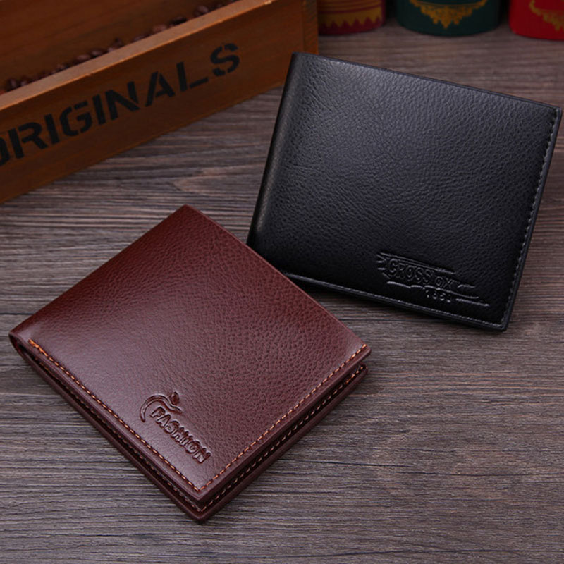 Men Wallets Business Card Holder Credit Card Wallet Pu Leather Purse For Men Mini Id Holders Case Fashion Vintage Short Purses fashion solid pu leather credit card holder slim wallet men luxury brand design business card organizer id holder case no zipper