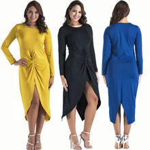 Italys new hot fashion personality sexy tight-fitting open high waist casual long-sleeved ladies dress