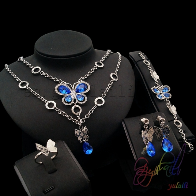 free shipping silver Dubai gold jewelry set 2016 high end costume