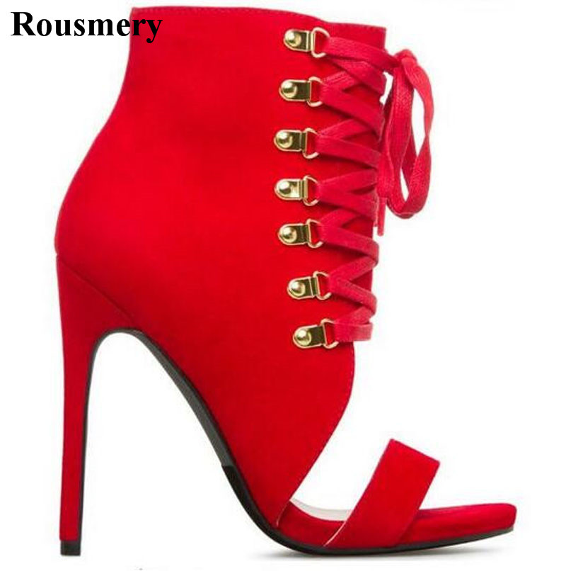 Summer New Fashion Women Open Toe Suede Leather Ankle Wrap High Heel Sandals Lace-up Strap Design Gladiator Sandals Red Black fashion sexy women summer sandals gladiator black red solid sandals buckle strap nubuck leather thick heel sandals us size 5 9