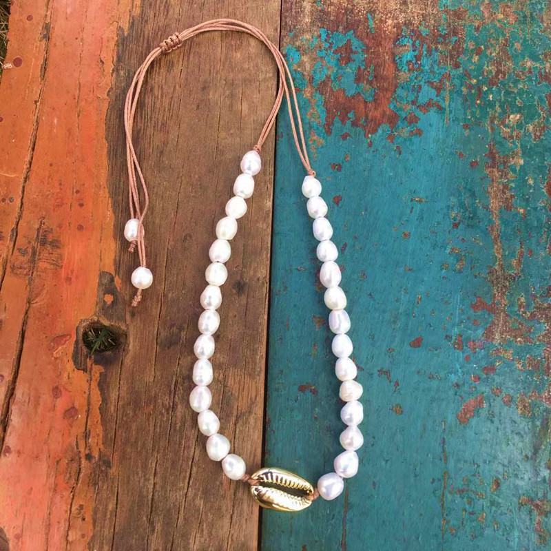 boho Puka Natural cowrie Shell necklace women statement pearl baroque bijoux choker necklace Collier de coquillages jewelry 2018