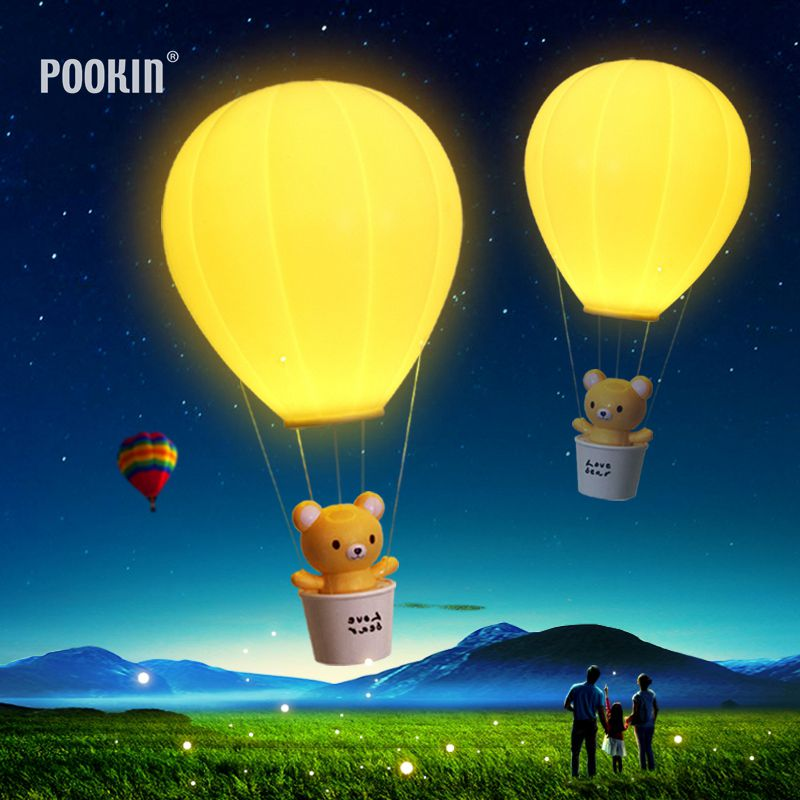 Hot Remote Control USB Charge LED Night Light Hot Air Balloon Rechargeable Wall Lamp Chandelier Lights Children Baby's Gifts litake dimmable hot air balloon led night light children baby nursery lamp with touch switch usb rechargeable wall lamp