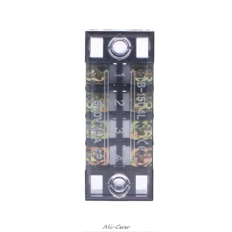 600V 15A 4 позиции двойной ряд покрытый барьер винт клеммный блок полоса