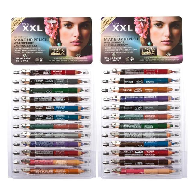 24 pcs Color Eyeliner Pencil Eye Shadow Pen Eye Liner Sticks Eyebrow Pencil Cosmetic Makeup Set Maquiagem MY207