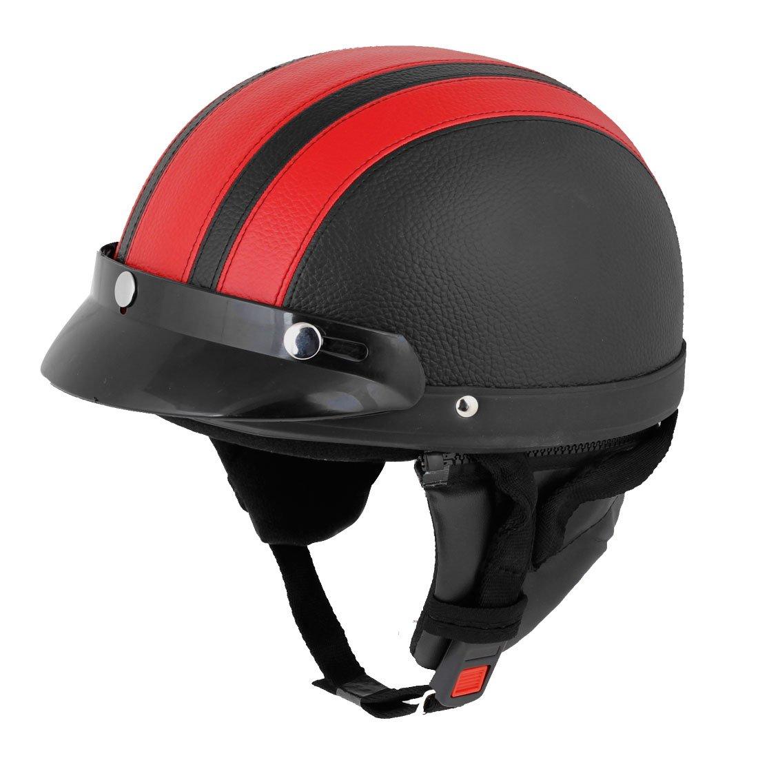 Red Black Faux Leather Coated Motorcycle Cap Half Helmet Scoop Visor faux feather shoulder scoop neck tee