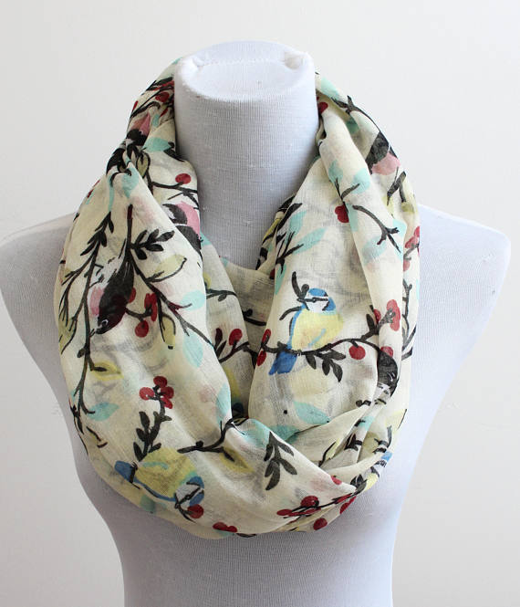 Beige Bird on Tree Branch Infinity Scarf fall scarf winter Christmas gift for her