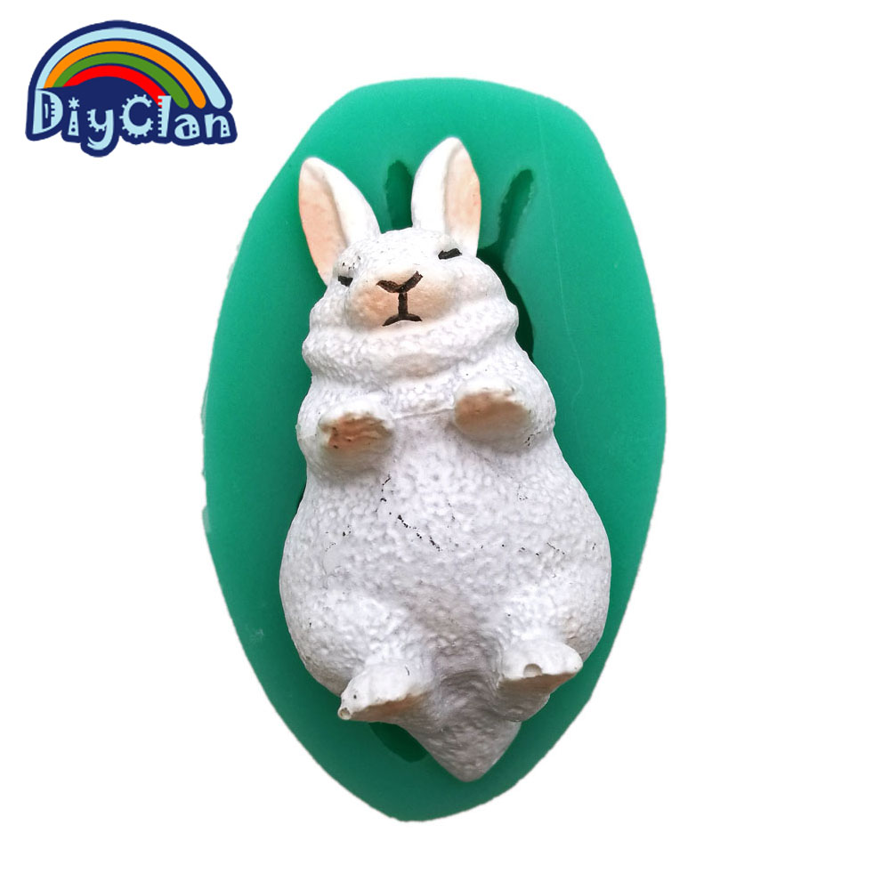 Mini white rabbit silicone fondant cake molds easter bunny chocolate mould baking tools animal resin mould F0713TZ