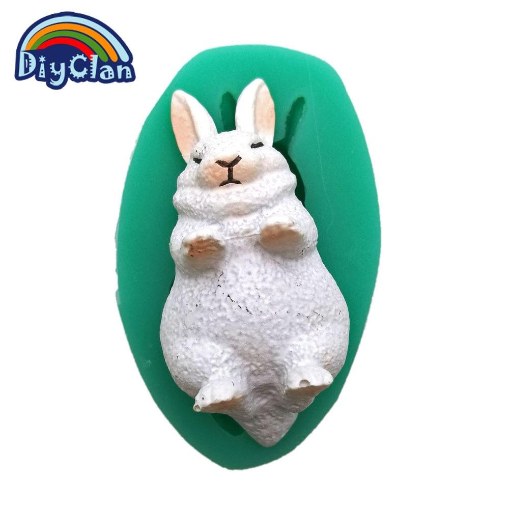 Mini putih arnab silikon fondant kek acuan easter bunny coklat acuan baking alat resin hewan haiwan F0713TZ