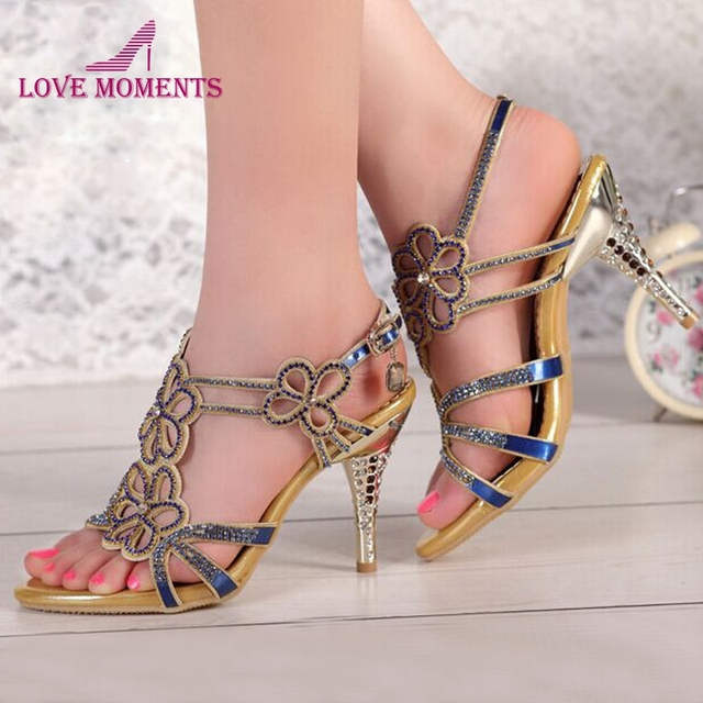 buy cheap with credit card Women's Pointed Toes Sandals Hollow Out Pendent Rhinestone High Thin Heel Shoes tumblr sale online nIhMX