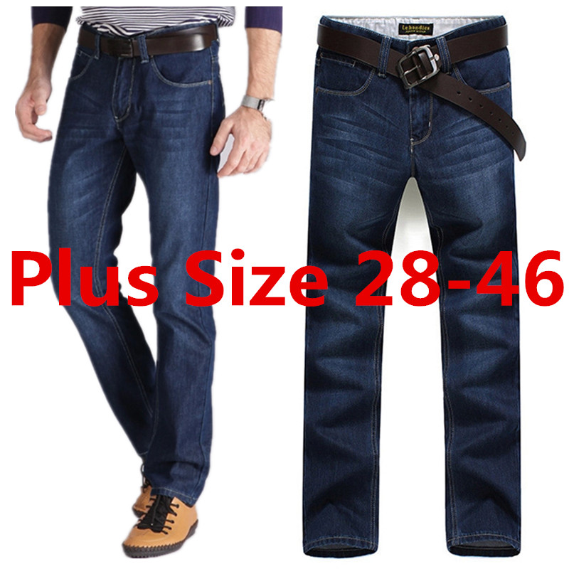 Plus Size 28-40 42 44 46 Darked Wash Jeans Mens Blue Black Stretch Denim Slim Straight Classic Casual Pants Male Trousers 50702 envmenst 2017 male floral bottom blue hole ankle length jeans men s jeans casual zipper straight denim trousers size 28 40