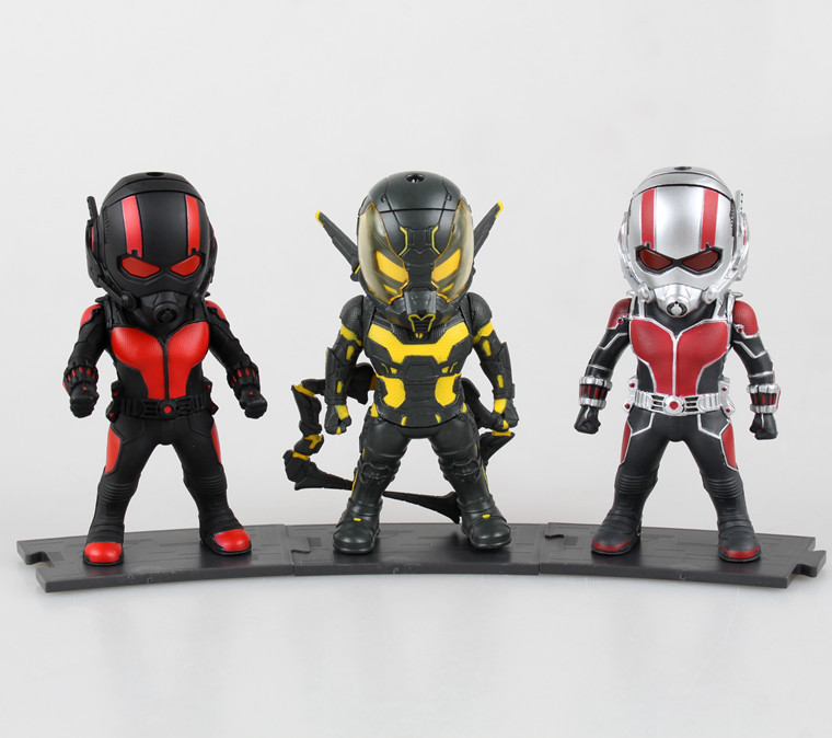 SAINTGI 3pcs/set Ant-man Action Figures Q version Collectible Model toys Marvel Eyes glow Avengers Classic figures Children фигурка ant man ant man yellow jacket pop marvel