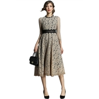 Jlong 2018 Vintage Lace Empire Elegant Lady Dress Fit and Flare Unique Designed Hollow Out Lace Floral Top quality and Top Sales