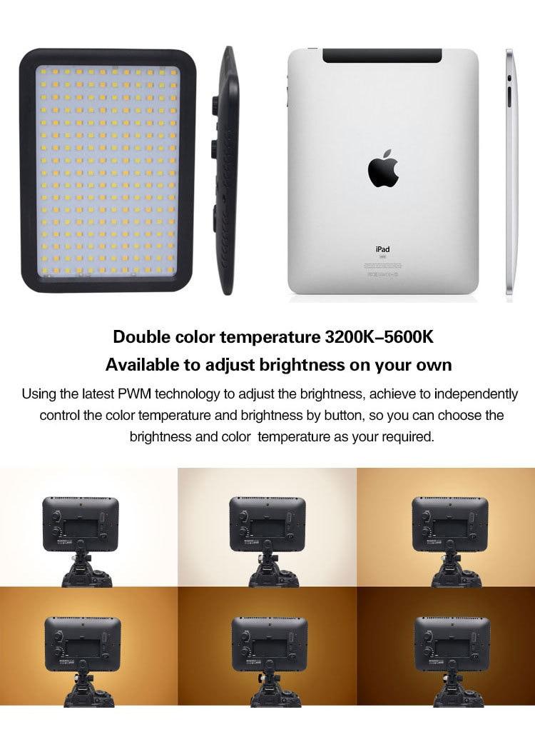 Mcopus אולטרה דק אור LED וידאו TTV-204 כפול טמפרטורת צבע עבור Canon Nikon DSLR מצלמה
