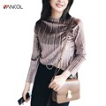 Vancol Women Clothes 2017 T-shirts Female Top Tees Long Sleeve O Neck Silver Brown Solid Color Spring Tops lvet Shirts Women