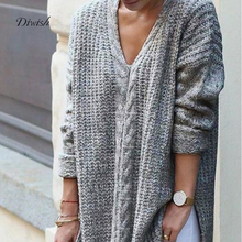 Diwish Knited Women Loose Autumn Sweater V-Neck Pullover Thin Solid Long Sleeve Slit Casual Style Female Gray Sweater 2019 New slit lace spliced loose sweater