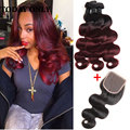 Fashion Ombre Malaysian Body Wave With Lace Closure 10A Queen Unprocessed Hair 1B/Burgundy 3 Bundle Cheap Ombre Hair Extensions