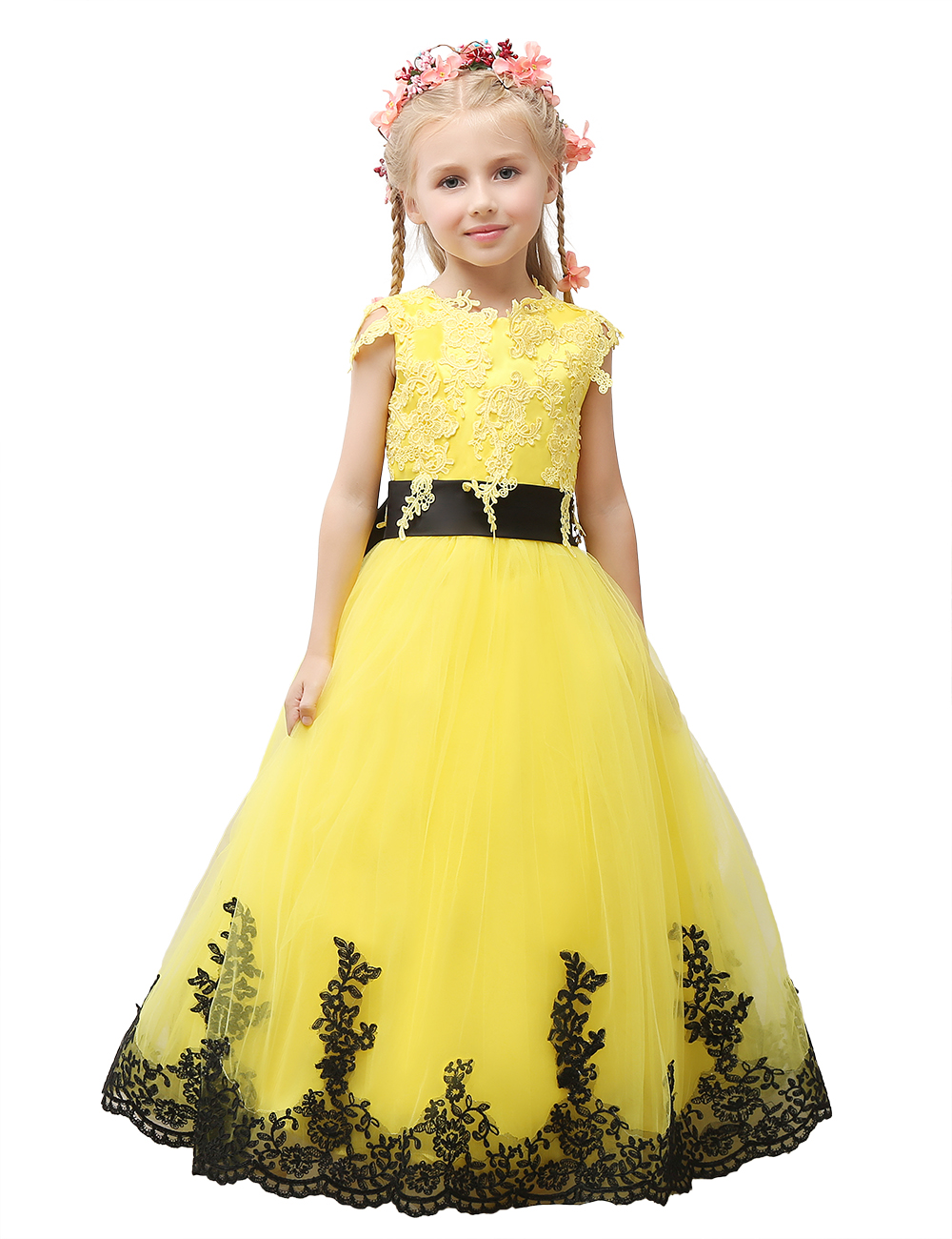 With black sash flower girl dresses mightylinksfo