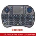 Mini teclado 2.4 GHz inglês versão retroiluminado Blacklight sem fio Air Mouse controle remoto Touchpad para Android TV Box