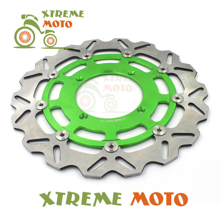 Green 320MM Front Wavy Floating Brake Disc Rotor For Kawasaki KX125 250 KXF250 450 KLXR450 Enduro Motocross Supermoto Dirt Bike keoghs motorcycle brake disc brake rotor floating 260mm 82mm diameter cnc for yamaha scooter bws cygnus front disc replace