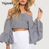 Yojoceli Street Vintage Plaid Blouses Women Autumn Big Flare Sleeve Cropped Top Shirt Casual Off Shoulder