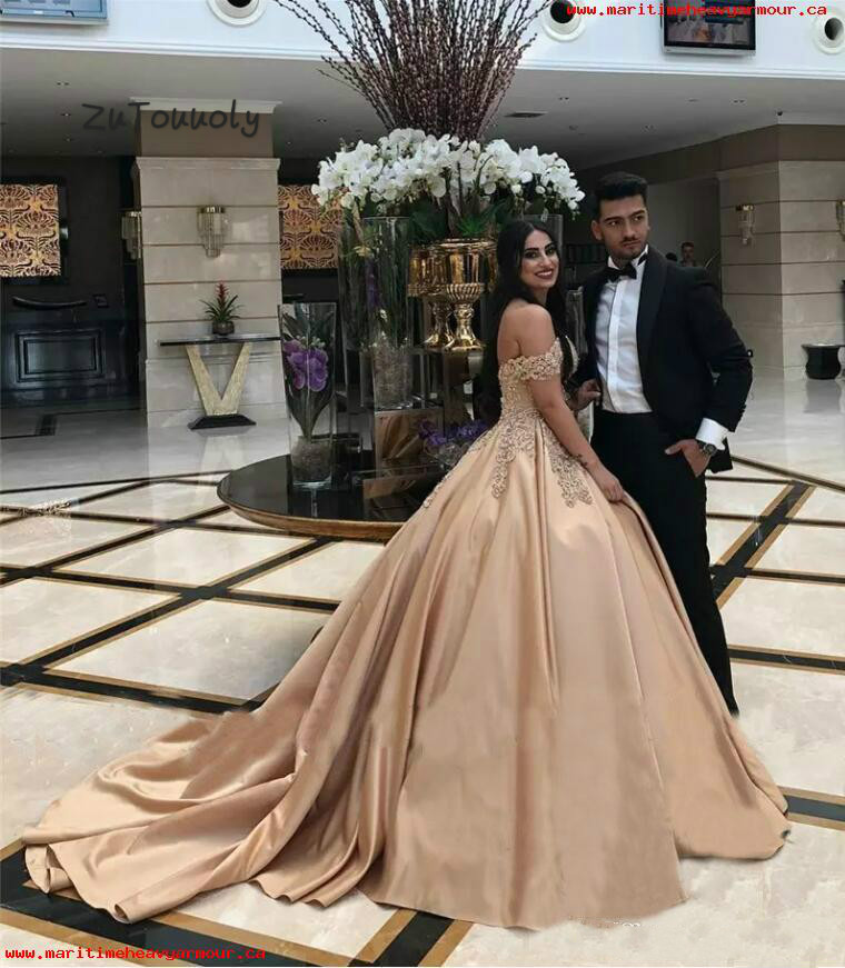 Red Satin Ball Bridal Gown Arabic Formal Evening Reception Party Prom Dress 2018