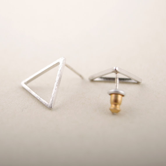 2016 New Arrival Fashion small Triangle studs Earrings color gold/silver/rose gold 30 pairs/lot Free Shipping ED008
