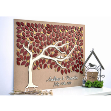 Custom Wedding Guest Book Alternative Wood, Personalized 3D Guestbooks Ideas,Unique Party Tree With Hearts