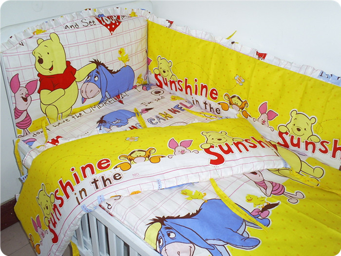 Promotion! 7pcs Crib Bedding Infant Bedding Set Baby Bedding Set for Newborn (bumper+duvet+matress+pillow)