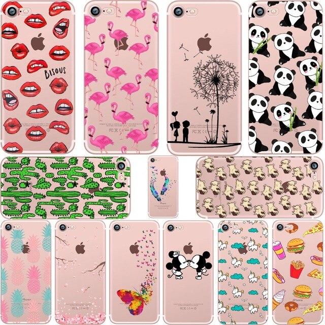 Ciciber Mickey & Minnie kus Lippen ananas eenhoorn Flamingo cactus zachte siliconen gevallen cover voor iphone 6 6 S 7 8 plus 5 S SE X