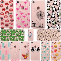 Mickey Minnie Kiss Lips Pineapple Unicorn Flamingo Cactus Panda Clear Soft Silicone Cases Cover For Iphone5S
