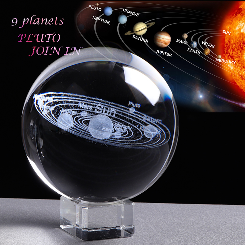 3D Solar System Crystal Ball Planets Glass Ball Home Decoration Accessories Nine Planets Glass Globe Astronomy Pluto Planet
