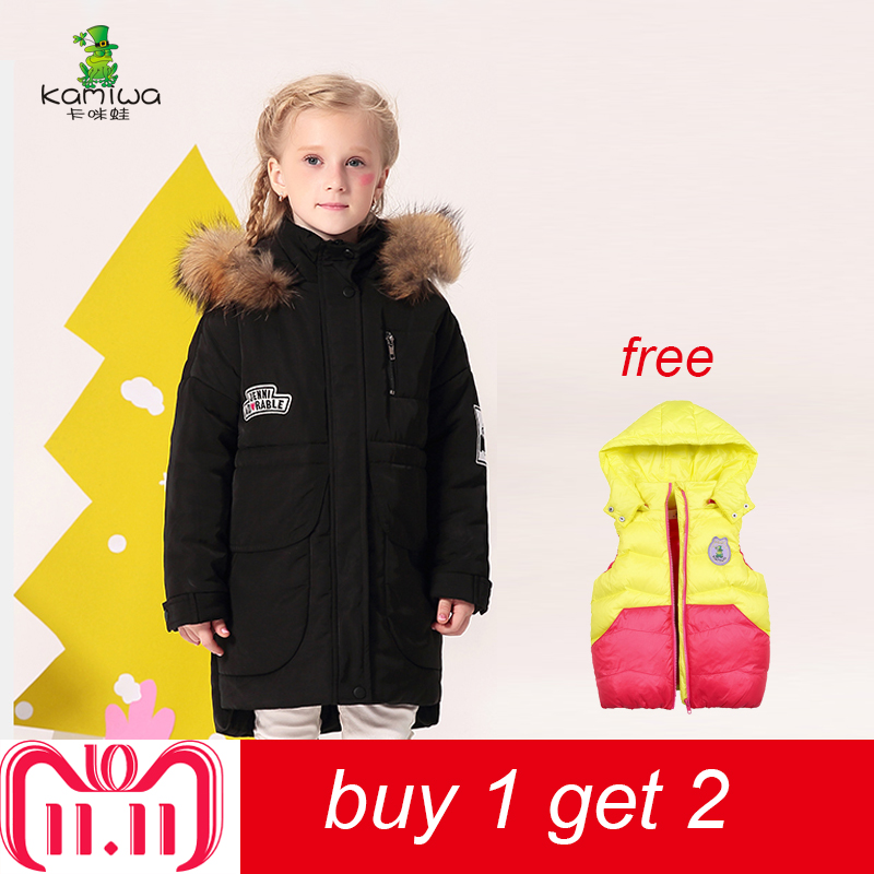 KAMIWA 2018 Cotton-padded Girls Winter Coats And Jackets Hooded Thick Long Kids Outwear Warm Clothes Parkas Baby Girls Clothing fur hooded girls winter coats and jackets outwear warm long down jacket kids girls clothes children parkas baby girls clothing