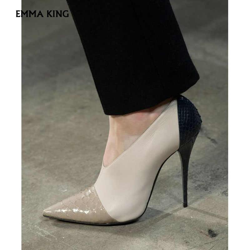 2019 เซ็กซี่ผสมสี Pointed - toe ปั๊ม PU ผู้หญิงตื้น Stiletto รองเท้าส้นสูงฤดูใบไม้ผลิแฟชั่นชุดรองเท้าแต่งงานผู้หญิง plus ขนาด