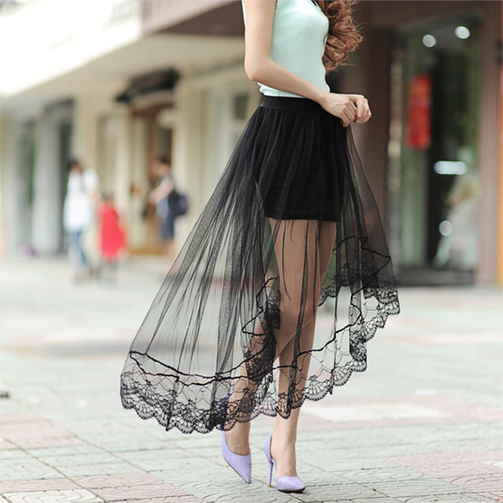 Sexy Lace Skirts Women Net Yarn Dovetail Skirt Jupe Tulle Beach ...