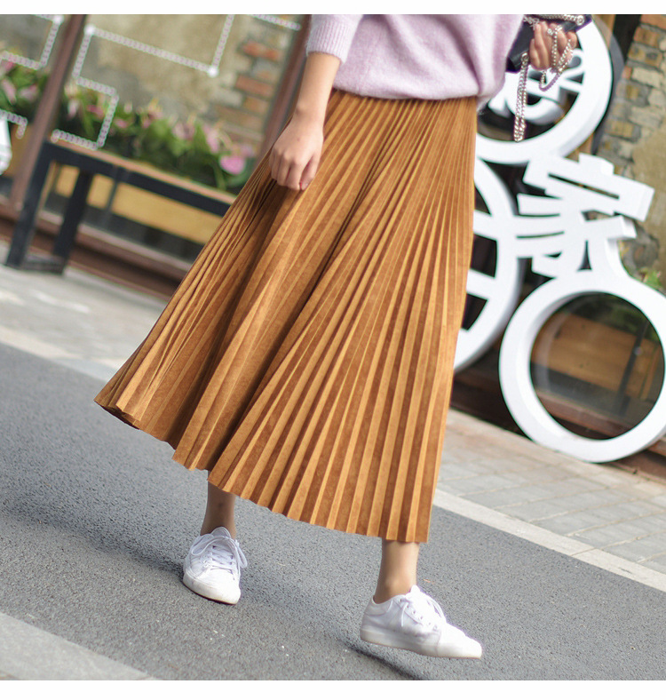 19 Two Layer Autumn Winter Women Suede Skirt Long Pleated Skirts Womens Saias Midi Faldas Vintage Women Midi Skirt 53