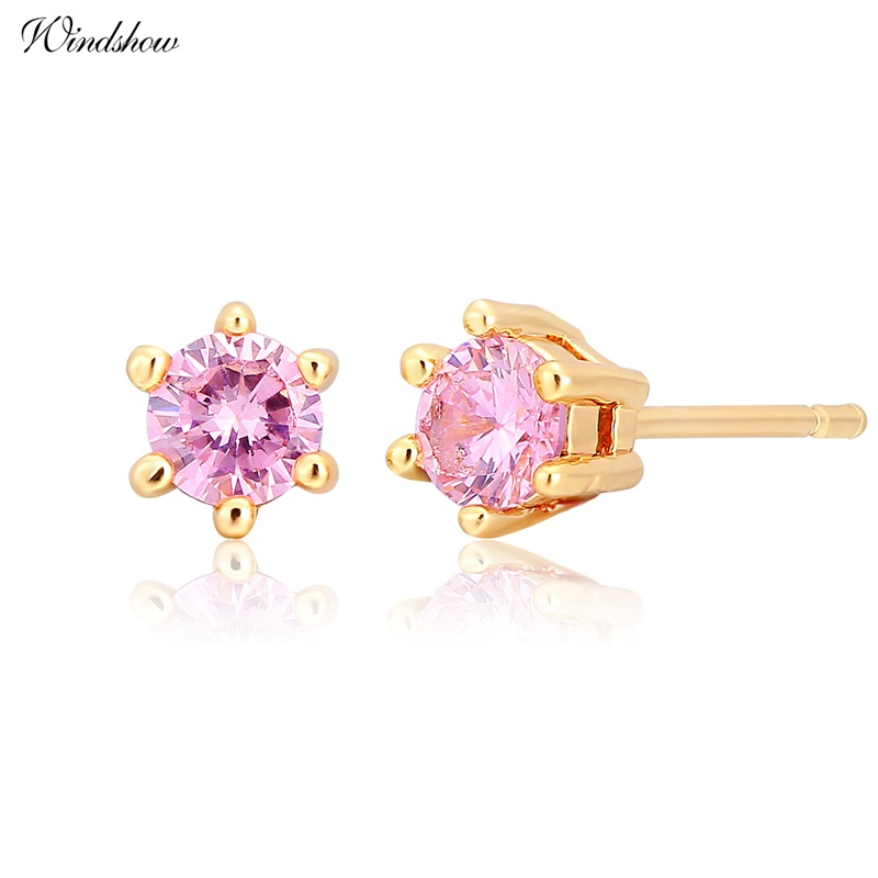 Six Claw Round Pink CZ Mini Small Stud Earrings For Women Kids ...