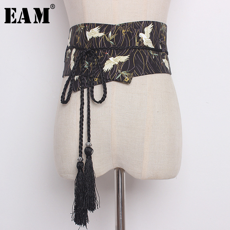 [EAM] 2019 New Fashion Design Personality Casual  Patten Printed Loose Ong Wild Belt Tassels Bow Lace-up Women Belt  AA220