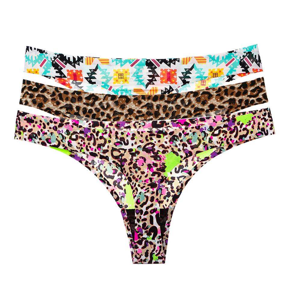Sexy Seamless Panties For Women G-String Thong Low-Rise Plus Size Thong Lingerie Underwear Leopard Cotton Crotch Thong Lady New