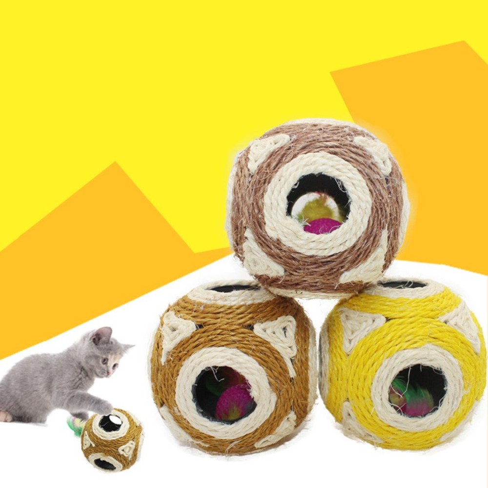 Funny Design Pets Cats 6 Holes Natural Sisal Ball Toys Pet Cats Training Supplies Wear-Resistant Grasp Ball Cat Toys