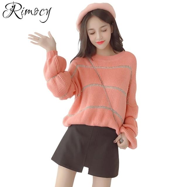 Roze Glitter Trui.Rimocy Mooie Roze Glitter Truien Vrouwen Koreaanse Stijl Herfst