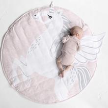Baby play mat round unicorn crawling blanket infant game pad play rug floor carpet for baby activity room decor 90cm dia 90cm baby rattles play mat cartoon bear animals models baby game blanket baby fitness rack infant crawling mat educational toys