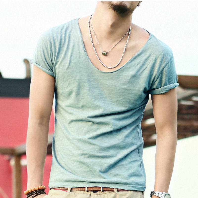 Men 39 s exclusive pretty tops v neck shorts sleeve t shirts for Cut shirts for men
