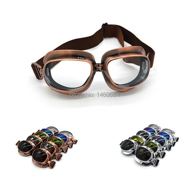 2017 Retro WWII Motorcycle Goggles Lunette Moto Aviateur Vintage Glasses  Silver Copper 944d702a83e4