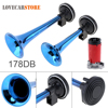 12V 178dB Super Loud Dual Tone Auto Car Air Horn Set Heavy Duty Trumpet Compressor For
