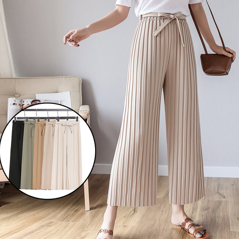 Women   Pants   2019 Spring Summer Fashion Female Casual Loose Solid High Waist Elegant Pleated   Wide     Leg     Pant   Office Lady Trousers