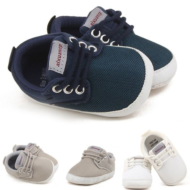 1 Pair Fashion Newborn Baby Boys Shoes First Walkers Ventilation Net  Surface Canvas Crib Soft Sole Shoes 0-18 Month eba927e1716d