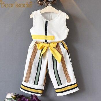 Bear Leader Girls Clothing Sets 2018 New Summer Fashion girls sleeveless Splicing design T-shirt+Casual pants 2Pcs Girls Clothes conjuntos casuales para niñas